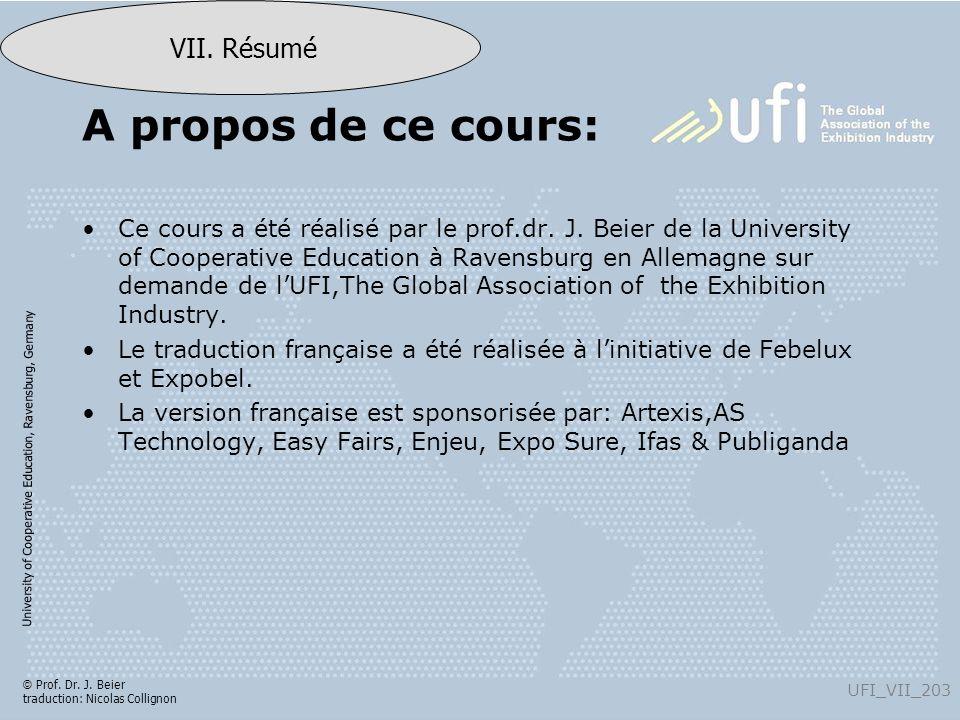 University of Cooperative Education, Ravensburg, Germany UFI_VII_203 VII. Résumé © Prof. Dr. J. Beier traduction: Nicolas Collignon A propos de ce cou