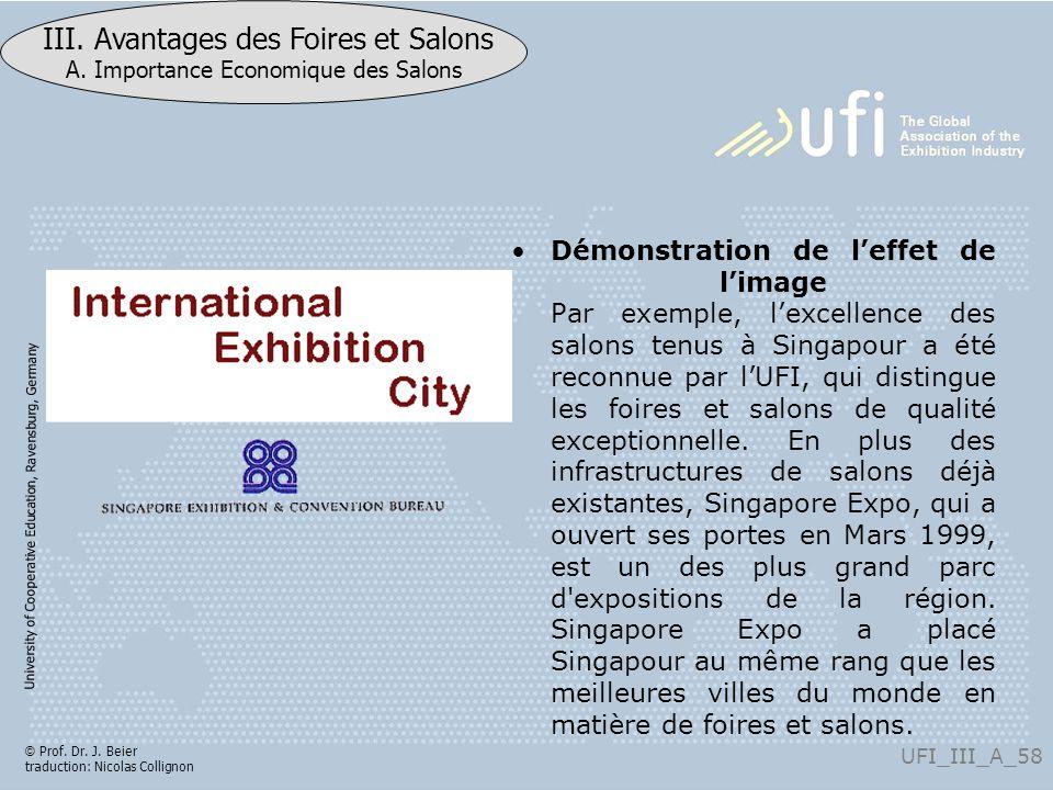 University of Cooperative Education, Ravensburg, Germany UFI_III_A_58 III. Avantages des Foires et Salons A. Importance Economique des Salons © Prof.