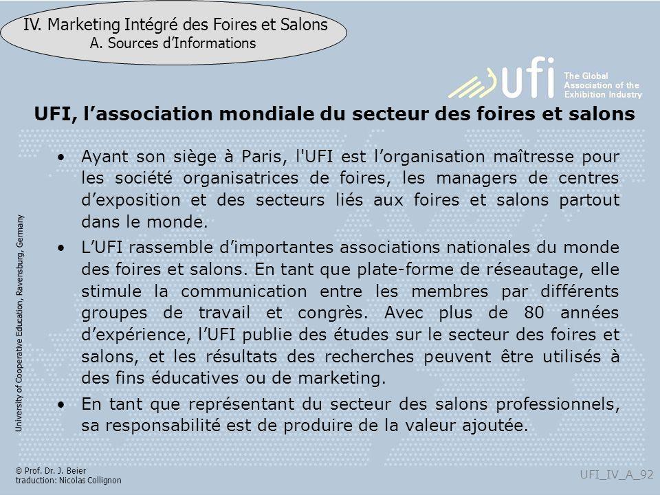 University of Cooperative Education, Ravensburg, Germany UFI_IV_A_92 IV. Marketing Intégré des Foires et Salons A. Sources dInformations © Prof. Dr. J