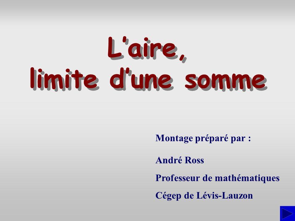 Montage préparé par : André Ross Professeur de mathématiques Cégep de Lévis-Lauzon Laire, limite dune somme Laire, limite dune somme