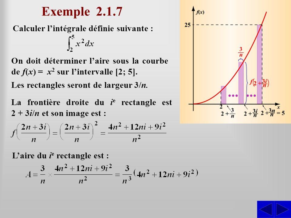 Calculer lintégrale définie suivante : Exemple 2.1.7 SS S On doit déterminer laire sous la courbe de f(x) = x 2 sur lintervalle [2; 5]. La frontière d