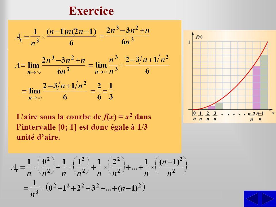 Exercice En considérant les frontières gauches, déterminer laire sous la courbe définie par f(x) = x 2 dans lintervalle [0; 1] en évaluant la limite d