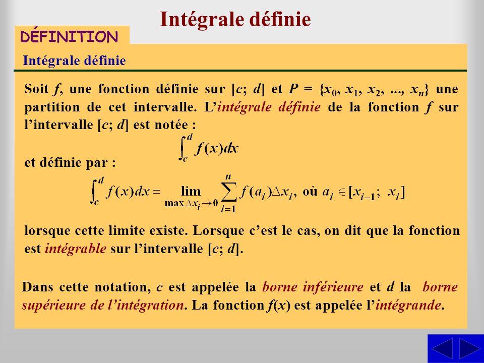 Intégrale définie DÉFINITION Intégrale définie Soit f, une fonction définie sur [c; d] et P = {x 0, x 1, x 2,..., x n } une partition de cet intervall