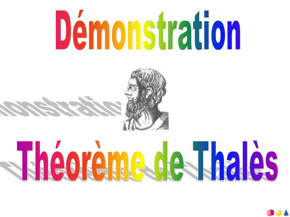 AC B D E Soit deux triangles ABC et ADE en configuration de Thalès :