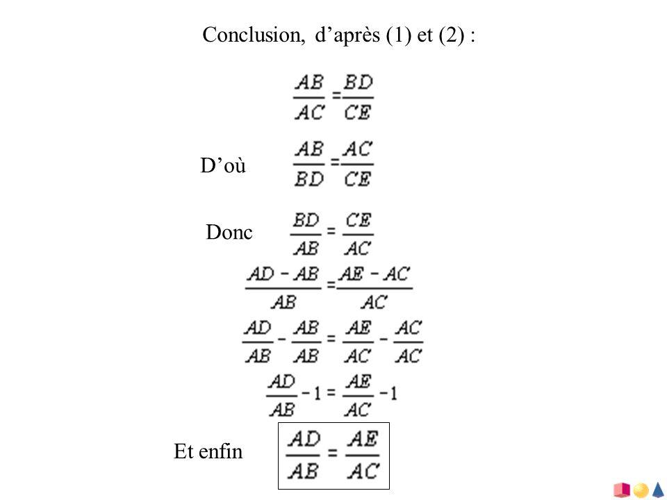 Conclusion, daprès (1) et (2) : Doù Donc Et enfin