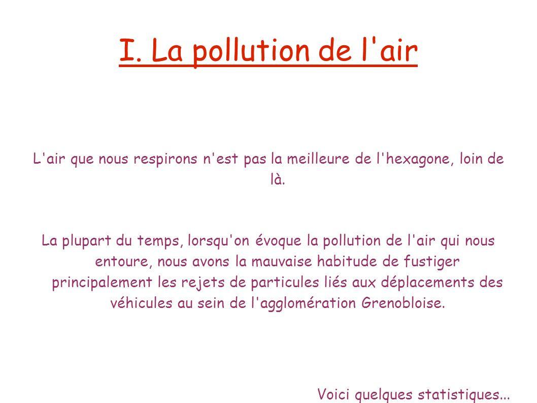 I. La pollution de l'air L'air que nous respirons n'est pas la meilleure de l'hexagone, loin de là. La plupart du temps, lorsqu'on évoque la pollution