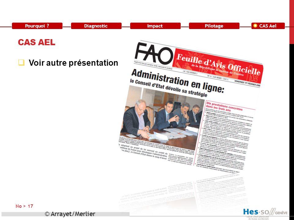 Pourquoi ?DiagnosticImpact CAS Ael Pilotage CAS AEL Voir autre présentation © Arrayet/Merlier No > 17
