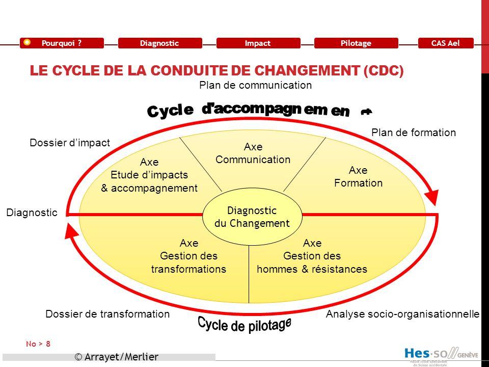 Pourquoi ?DiagnosticImpact CAS Ael Pilotage LE CYCLE DE LA CONDUITE DE CHANGEMENT (CDC) © Arrayet/Merlier No > 8 Diagnostic du Changement Axe Etude di