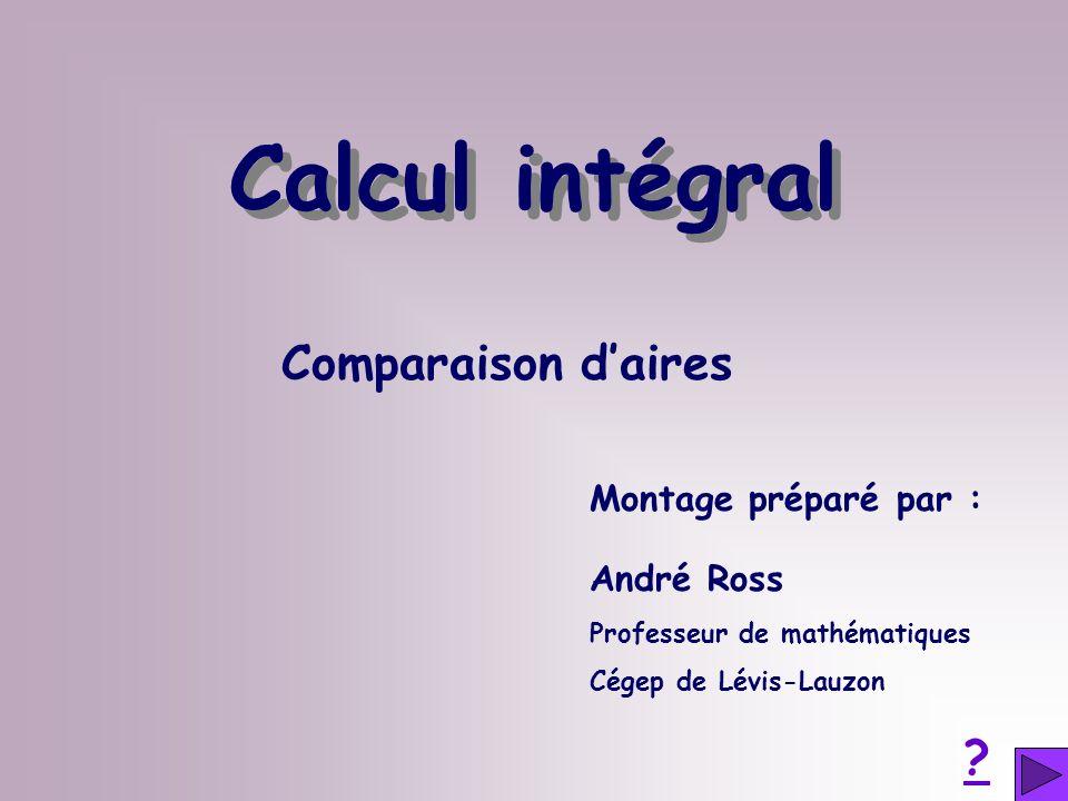 Comparaison daires Montage préparé par : André Ross Professeur de mathématiques Cégep de Lévis-Lauzon ? Calcul intégral