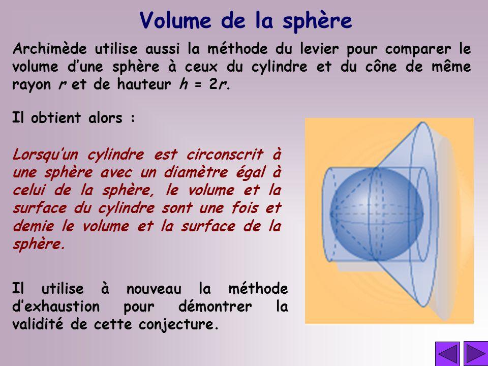Volume de la sphère Archimède utilise aussi la méthode du levier pour comparer le volume dune sphère à ceux du cylindre et du cône de même rayon r et