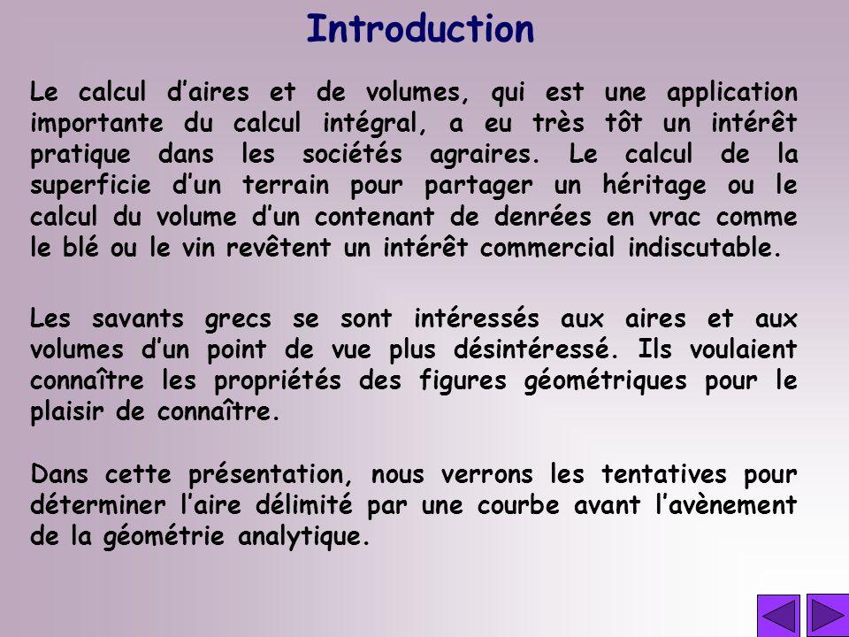 Le calcul daires et de volumes, qui est une application importante du calcul intégral, a eu très tôt un intérêt pratique dans les sociétés agraires. L