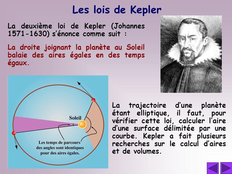 Les lois de Kepler La deuxième loi de Kepler (Johannes 1571-1630) sénonce comme suit : La trajectoire dune planète étant elliptique, il faut, pour vér
