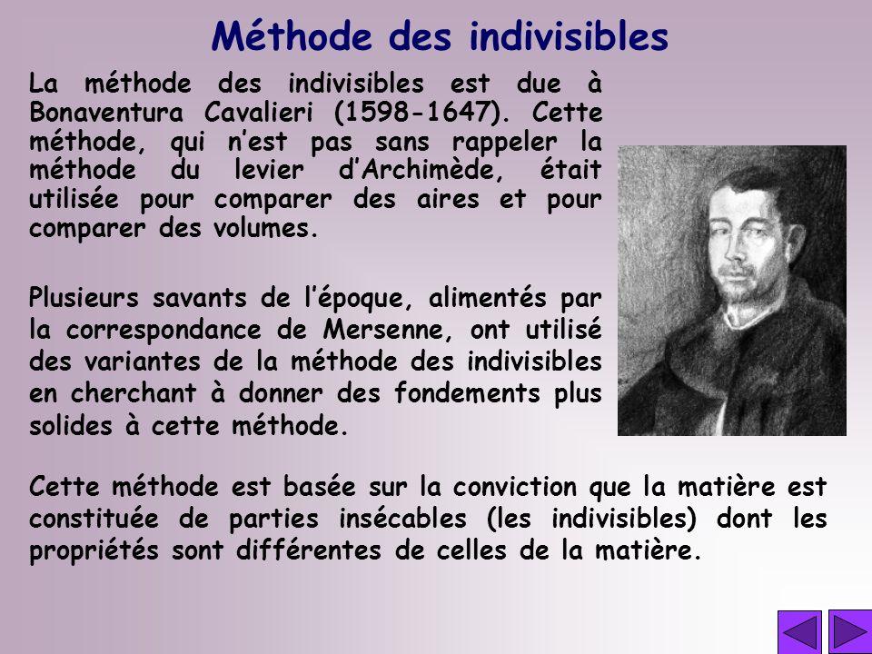 Méthode des indivisibles La méthode des indivisibles est due à Bonaventura Cavalieri (1598-1647). Cette méthode, qui nest pas sans rappeler la méthode