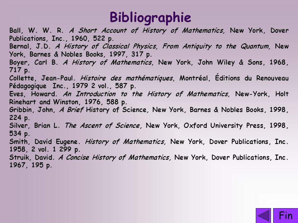 Fin Bibliographie Ball, W.W. R.