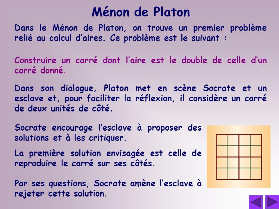 Dans le Ménon de Platon, on trouve un premier problème relié au calcul daires. Ce problème est le suivant : Ménon de Platon Construire un carré dont l