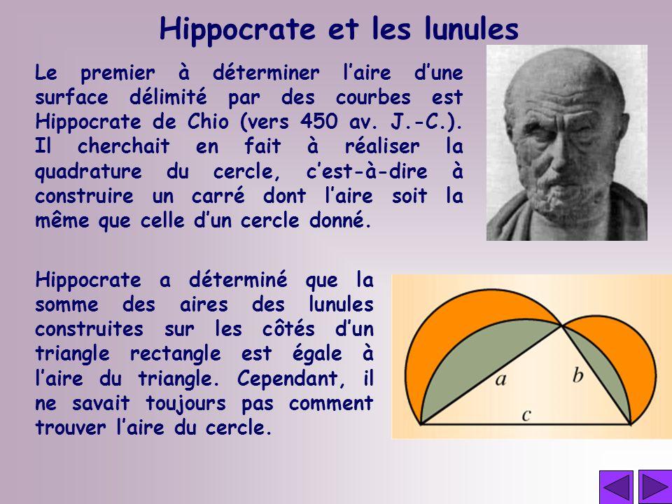 Le premier à déterminer laire dune surface délimité par des courbes est Hippocrate de Chio (vers 450 av. J.-C.). Il cherchait en fait à réaliser la qu