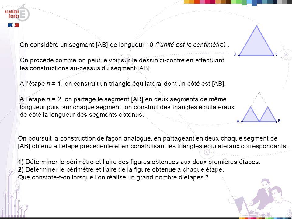 On poursuit la construction de façon analogue, en partageant en deux chaque segment de [AB] obtenu à létape précédente et en construisant les triangles équilatéraux correspondants.