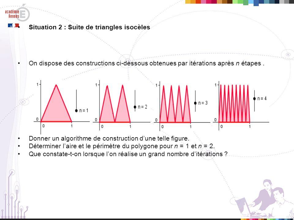 Exemple de scénario Après avoir répondu à la question a), les élèves poursuivent lalgorithme de construction pour un nombre détapes égal à 3 ou 4 et calculent le périmètre et laire des figures obtenues.
