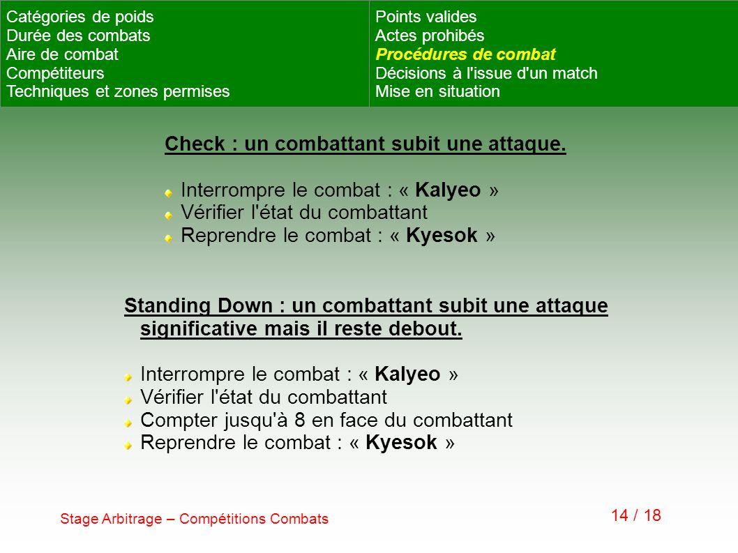 Stage Arbitrage – Compétitions Combats 14 / 18 Check : un combattant subit une attaque. Interrompre le combat : « Kalyeo » Vérifier l'état du combatta