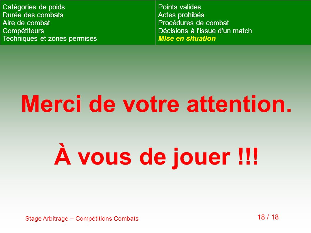 Stage Arbitrage – Compétitions Combats 18 / 18 Catégories de poids Durée des combats Aire de combat Compétiteurs Techniques et zones permises Points v