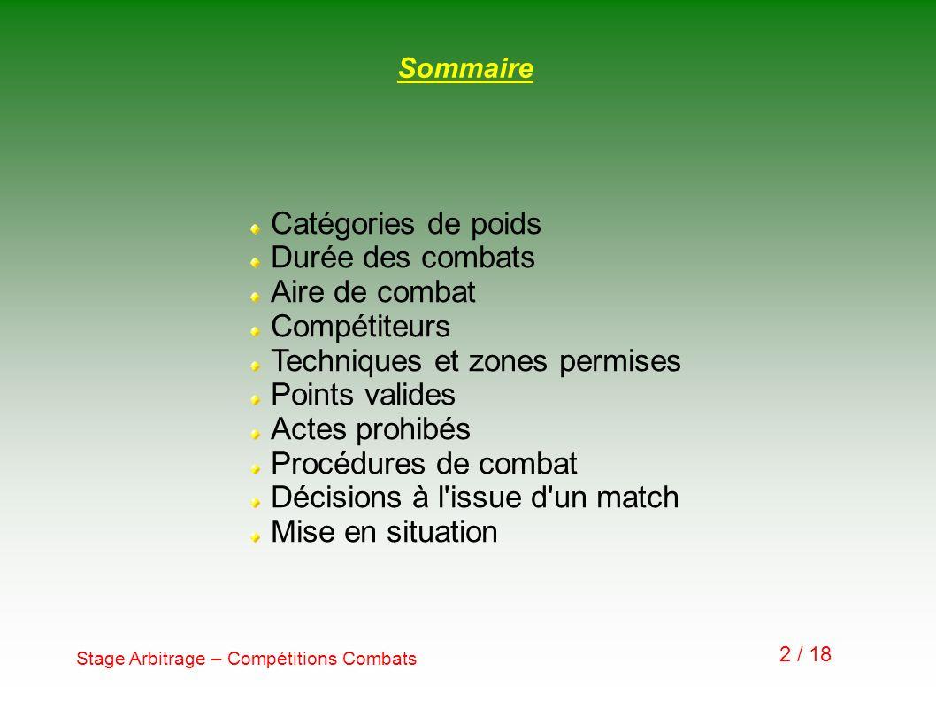 Stage Arbitrage – Compétitions Combats 2 / 18 Sommaire Catégories de poids Durée des combats Aire de combat Compétiteurs Techniques et zones permises