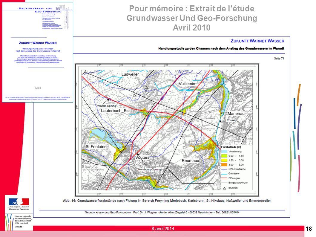 18 Pour mémoire : Extrait de létude Grundwasser Und Geo-Forschung Avril 2010 8 avril 2014