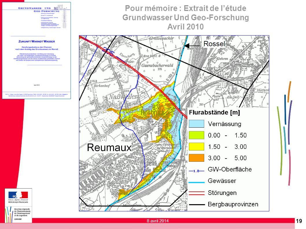 19 Pour mémoire : Extrait de létude Grundwasser Und Geo-Forschung Avril 2010 8 avril 2014