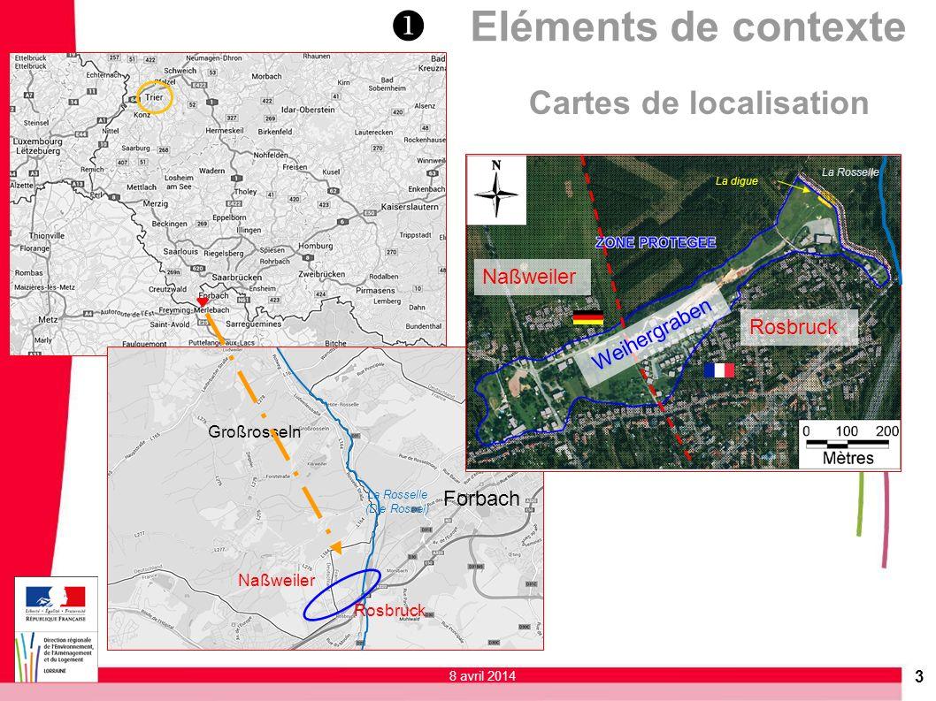 Cartes de localisation Naßweiler Forbach Großrosseln Rosbruck La Rosselle (Die Rossel) Naßweiler Rosbruck Weihergraben La Rosselle La digue 3 8 avril