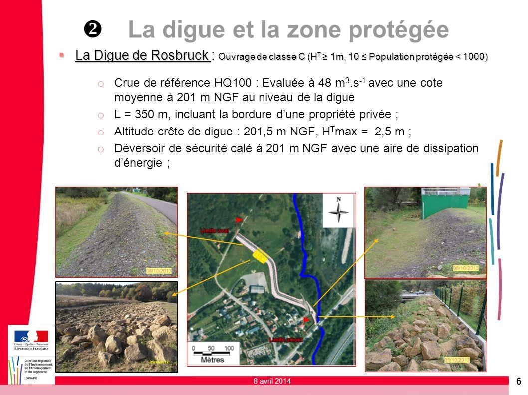 6 La Digue de Rosbruck : Ouvrage de classe C (H T 1m, 10 Population protégée < 1000) La Digue de Rosbruck : Ouvrage de classe C (H T 1m, 10 Population