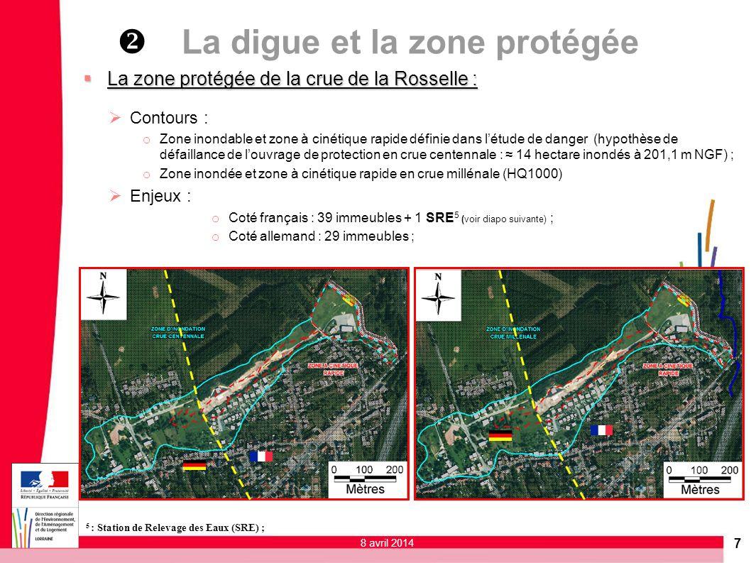 7 La zone protégée de la crue de la Rosselle : La zone protégée de la crue de la Rosselle : Contours : o Zone inondable et zone à cinétique rapide déf