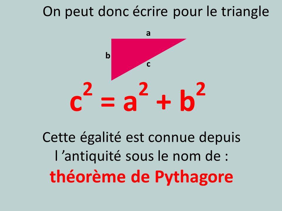 c 2 = a 2 + b 2 Cette égalité est connue depuis l antiquité sous le nom de : théorème de Pythagore a b c On peut donc écrire pour le triangle