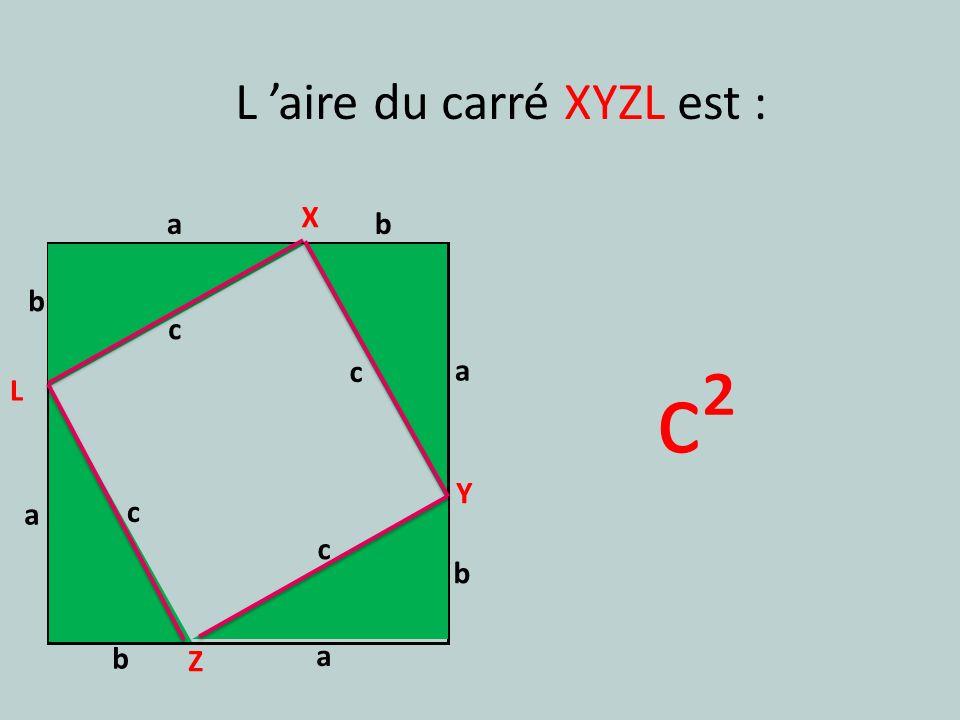 a b c a b c a b c a b c X Y Z L L aire du carré XYZL est : c²