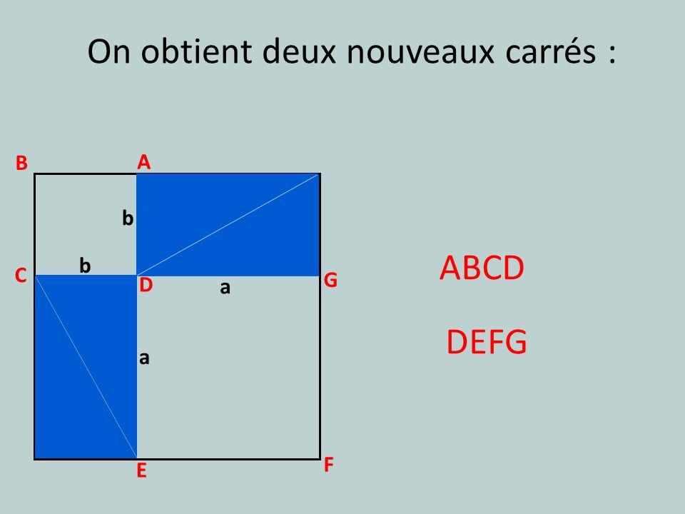 a b a b On obtient deux nouveaux carrés : DEFG A B C ABCD D G F E