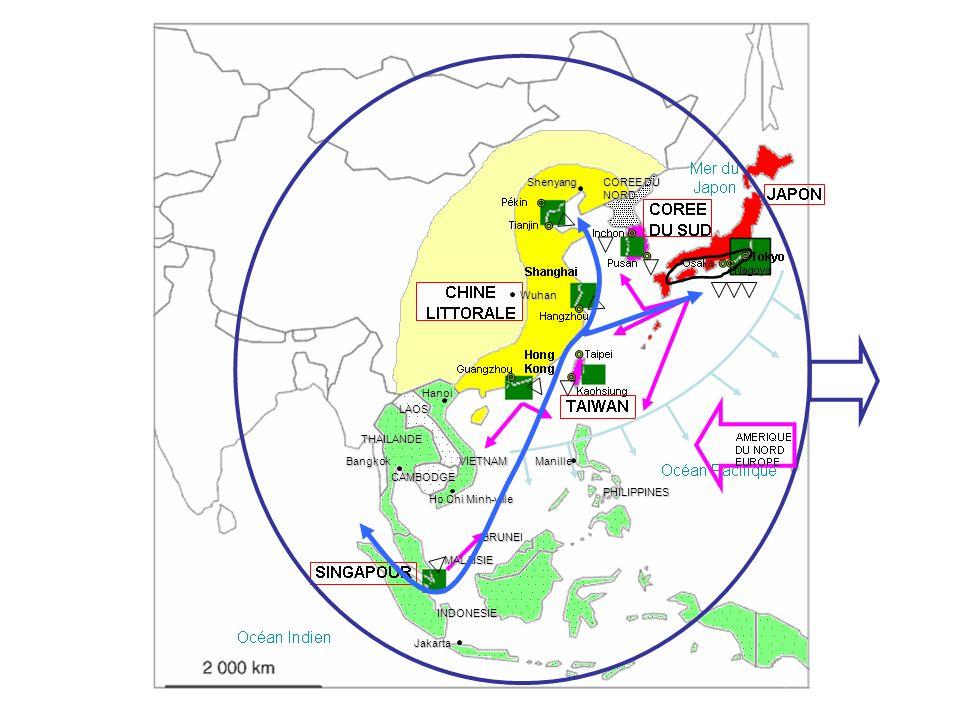 THAILANDE LAOS CAMBODGE VIETNAM MALAISIE INDONESIE PHILIPPINES BRUNE BRUNEI COREE DU NORD Hanoi Ho Chi Minh-ville Jakarta ManilleBangkok Shenyang Wuha