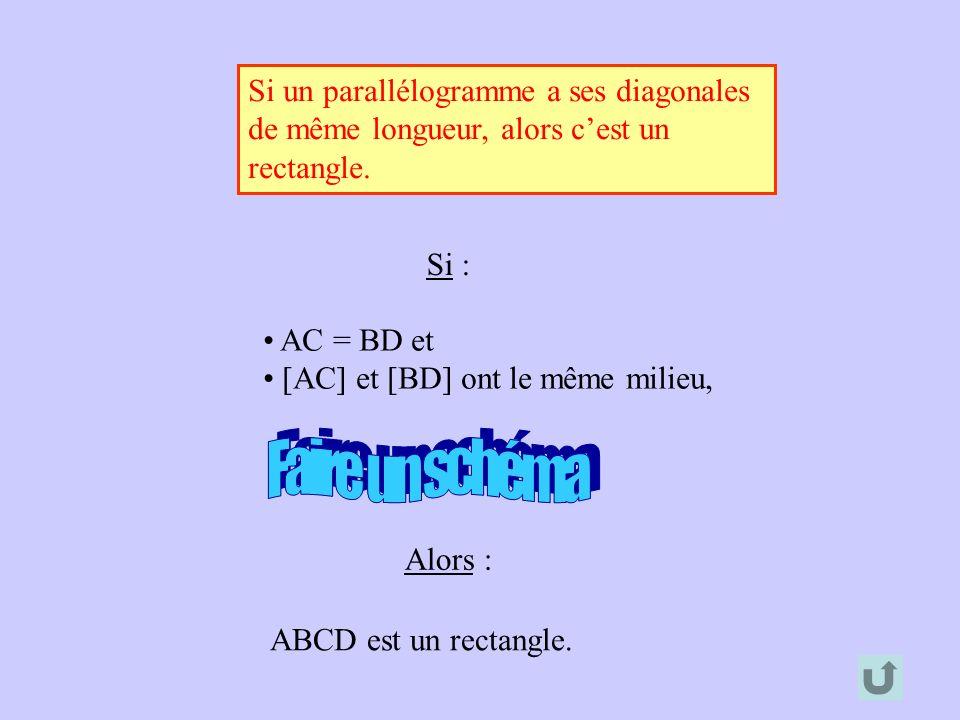 Si un parallélogramme a ses diagonales de même longueur, alors cest un rectangle. Alors : ABCD est un rectangle. Si : AC = BD et [AC] et [BD] ont le m