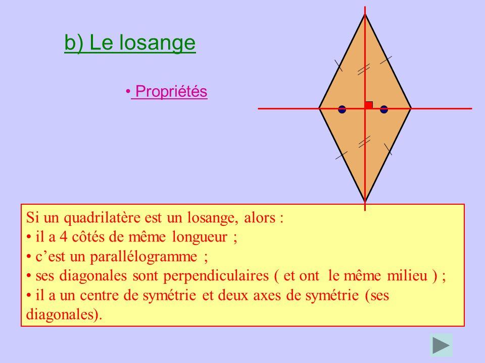 b) Le losange Propriétés Si un quadrilatère est un losange, alors : il a 4 côtés de même longueur ; cest un parallélogramme ; ses diagonales sont perpendiculaires ( et ont le même milieu ) ; il a un centre de symétrie et deux axes de symétrie (ses diagonales).