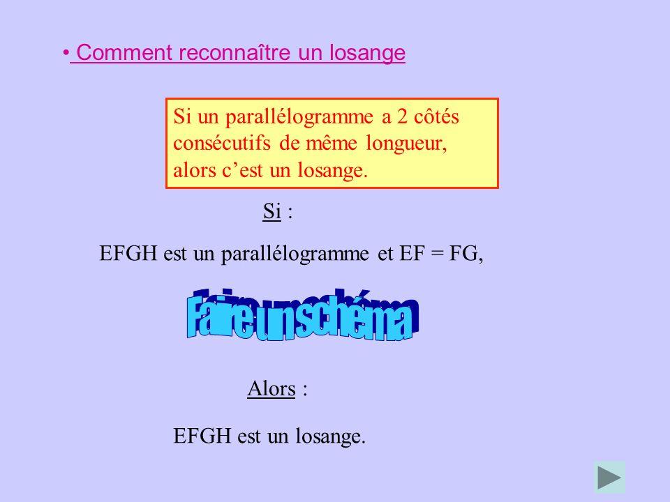 Comment reconnaître un losange Si un parallélogramme a 2 côtés consécutifs de même longueur, alors cest un losange. Alors : EFGH est un losange. Si :