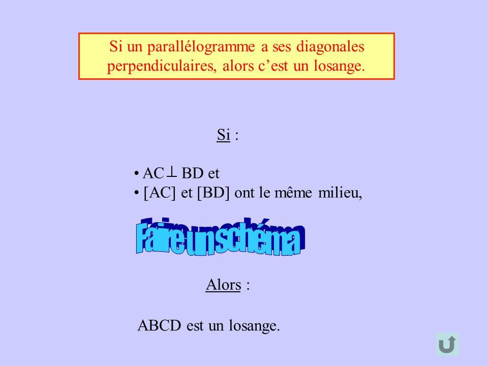 Si un parallélogramme a ses diagonales perpendiculaires, alors cest un losange. Alors : ABCD est un losange. Si : AC BD et [AC] et [BD] ont le même mi