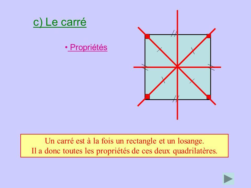 c) Le carré Propriétés Un carré est à la fois un rectangle et un losange. Il a donc toutes les propriétés de ces deux quadrilatères.