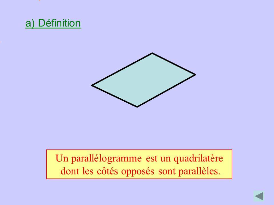 a) Définition Un parallélogramme est un quadrilatère dont les côtés opposés sont parallèles.