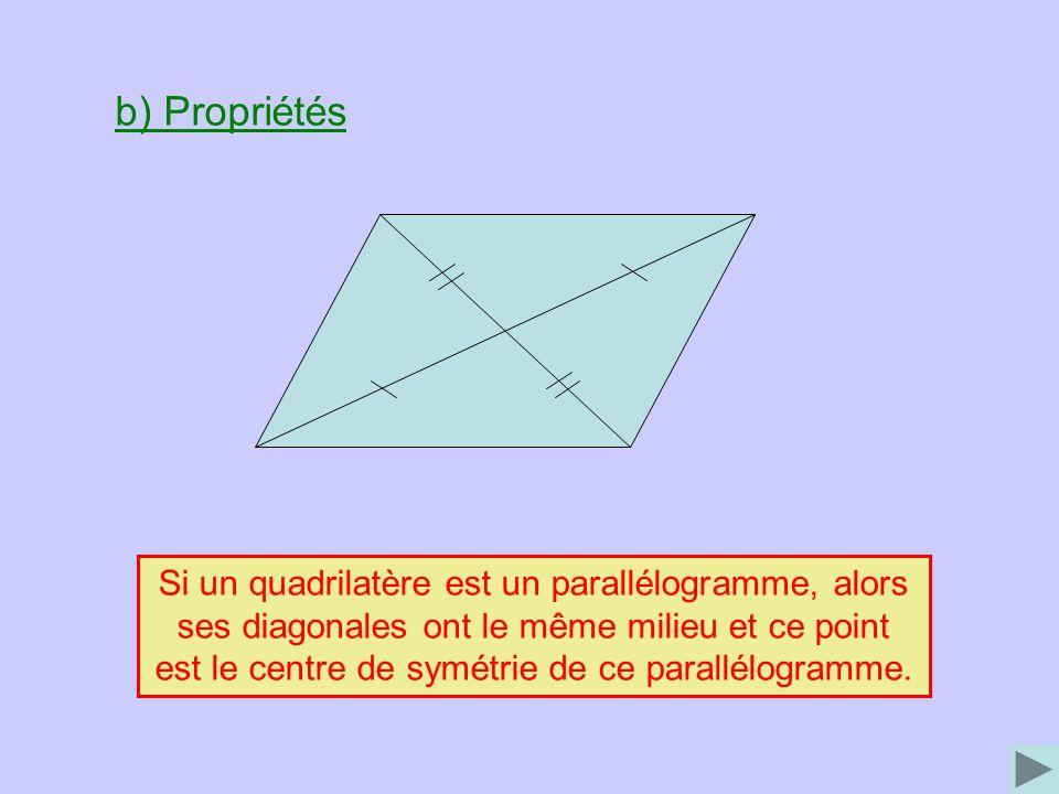 b) Propriétés Si un quadrilatère est un parallélogramme, alors ses diagonales ont le même milieu et ce point est le centre de symétrie de ce parallélogramme.