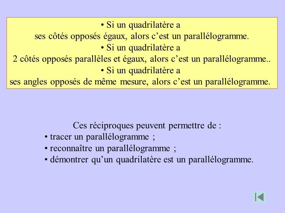 Ces réciproques peuvent permettre de : tracer un parallélogramme ; reconnaître un parallélogramme ; démontrer quun quadrilatère est un parallélogramme.