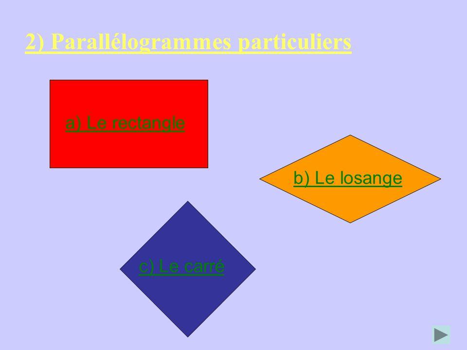 2) Parallélogrammes particuliers a) Le rectangle c) Le carré b) Le losange