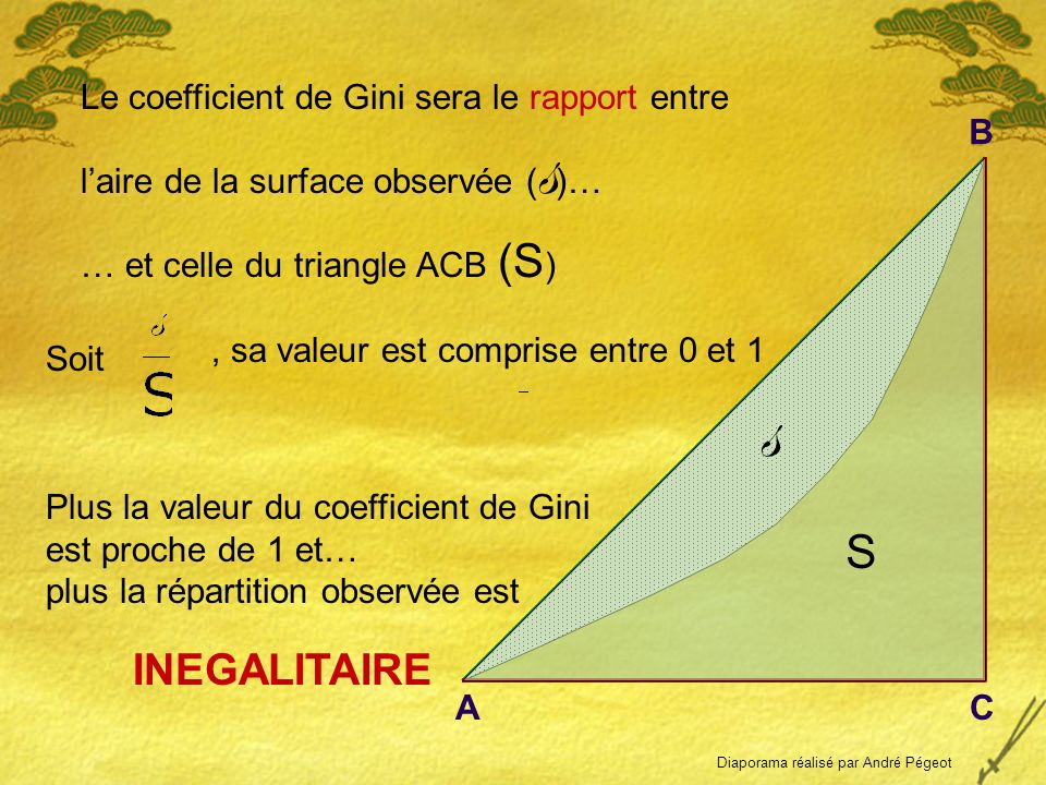 Le coefficient de Gini sera le rapport entre laire de la surface observée ( s )… Soit, sa valeur est comprise entre 0 et 1 Plus la valeur du coefficient de Gini est proche de 1 et… plus la répartition observée est INEGALITAIRE s S AC B … et celle du triangle ACB (S ) Diaporama réalisé par André Pégeot