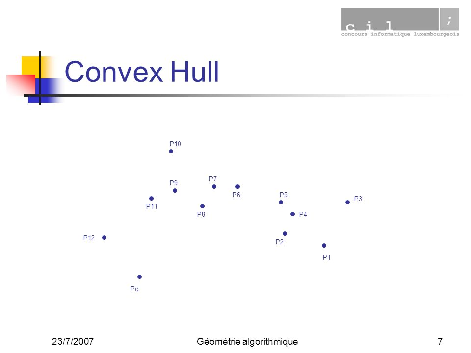 23/7/2007Géométrie algorithmique7 Convex Hull Po P1 P3 P10 P12 P11 P9 P6 P7 P8 P5 P4 P2