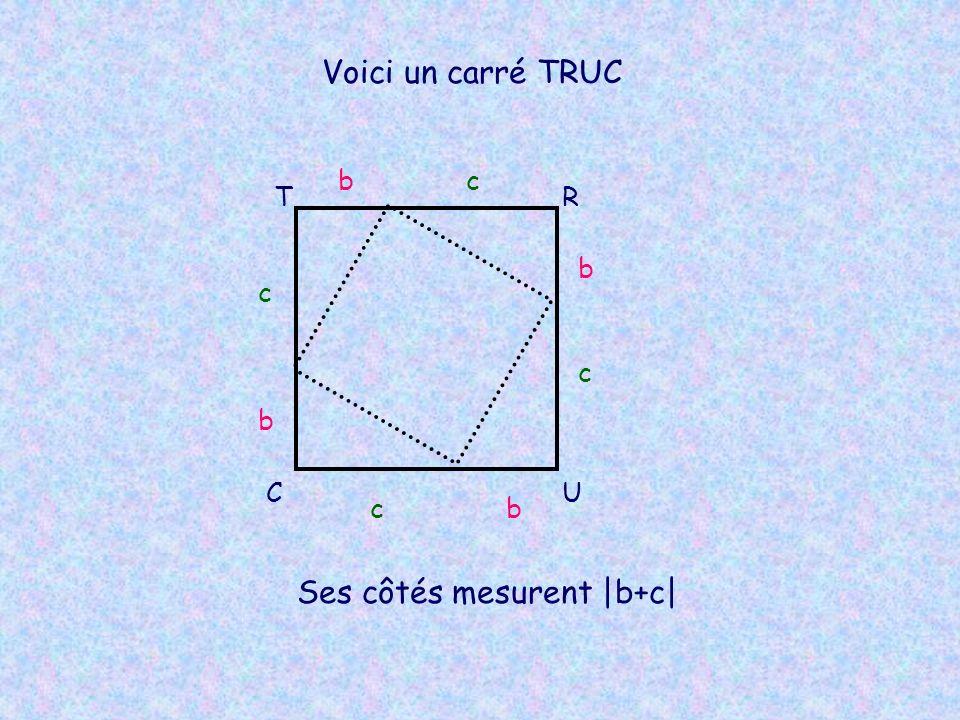 Voici un carré TRUC TR UC bc b c bc b c Ses côtés mesurent |b+c|