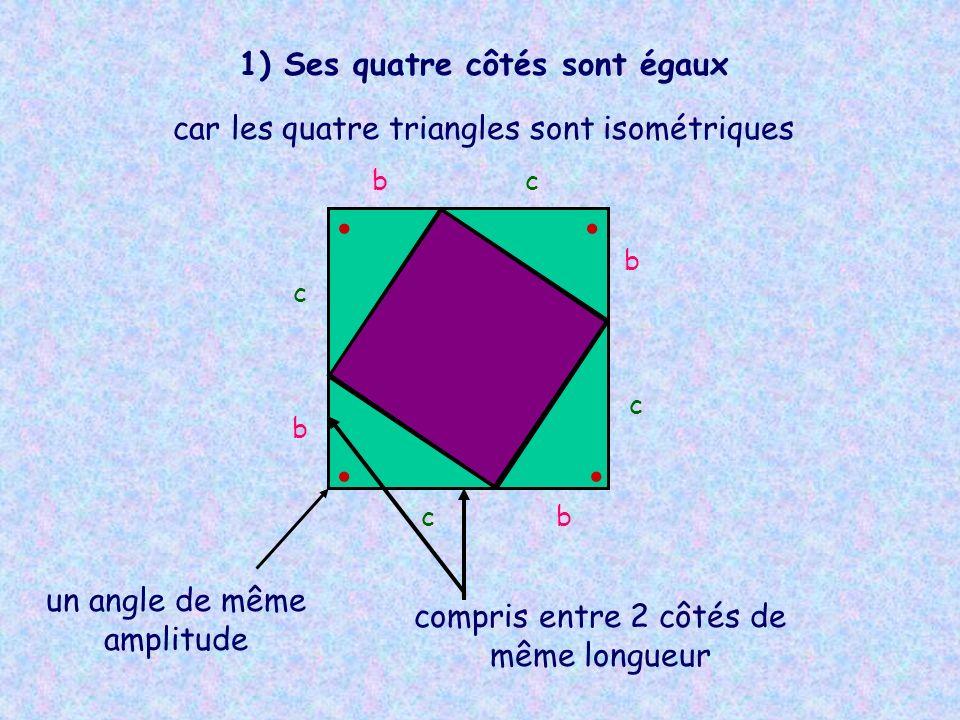 b b b b c c c c 1) Ses quatre côtés sont égaux car les quatre triangles sont isométriques un angle de même amplitude compris entre 2 côtés de même lon