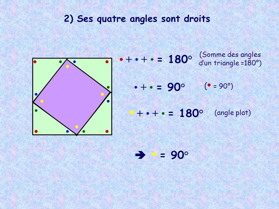 2) Ses quatre angles sont droits + + = 180° (Somme des angles dun triangle =180°) + = 90° ( = 90°) + + = 180° (angle plat) = 90°