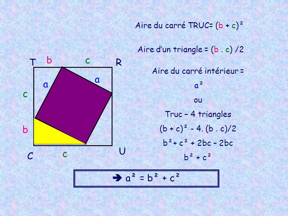 TR U C b c bc Aire du carré TRUC= (b + c)² Aire du carré intérieur = a²a² ou Truc – 4 triangles (b + c)² - 4. (b. c)/2 b²+ c² + 2bc – b² + c² a a Aire