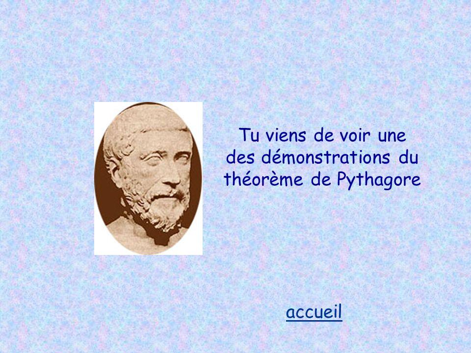 Tu viens de voir une des démonstrations du théorème de Pythagore accueil